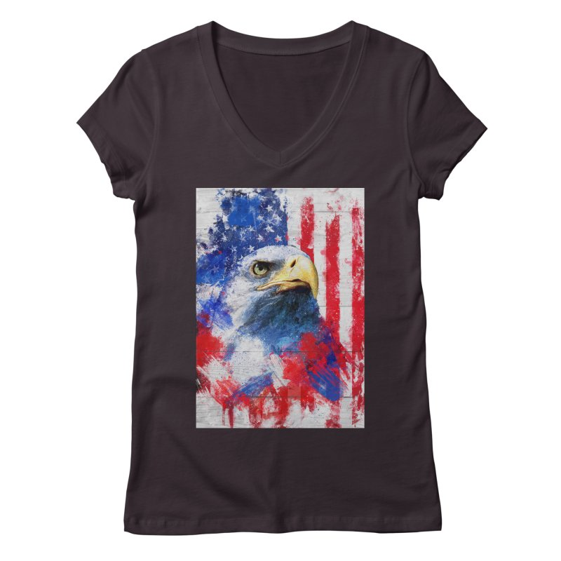 Artistic XLIII - American Pride Women's V-Neck by Abstract designs