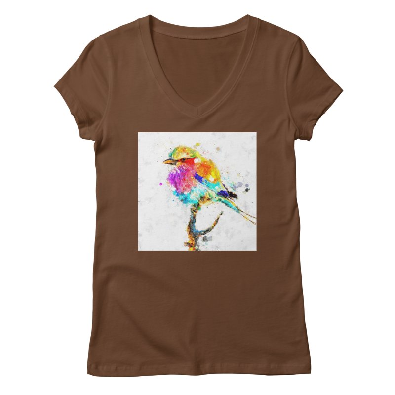 Artistic IV - Colorful Bird Women's V-Neck by Abstract designs