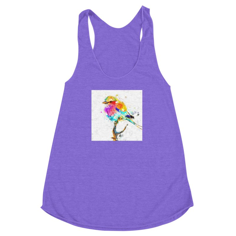 Artistic IV - Colorful Bird Women's Racerback Triblend Tank by Abstract designs