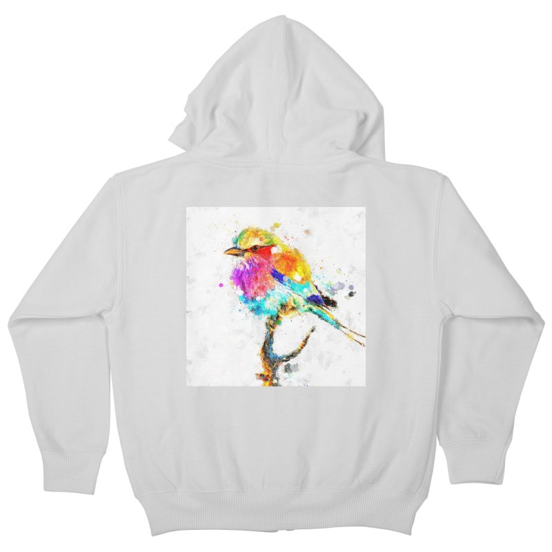 Artistic IV - Colorful Bird Kids Zip-Up Hoody by Abstract designs