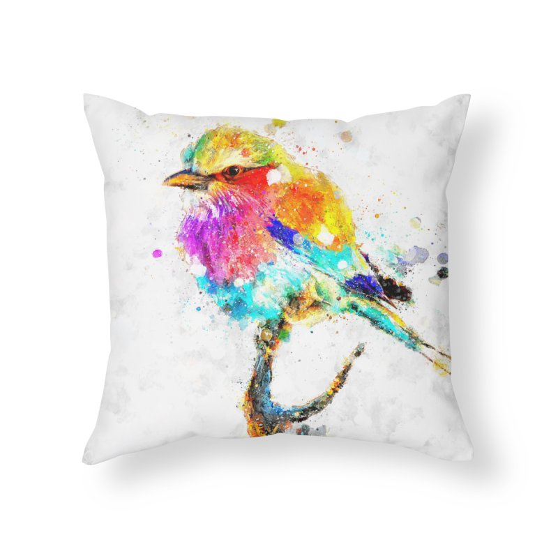 Artistic IV - Colorful Bird Home Throw Pillow by Abstract designs