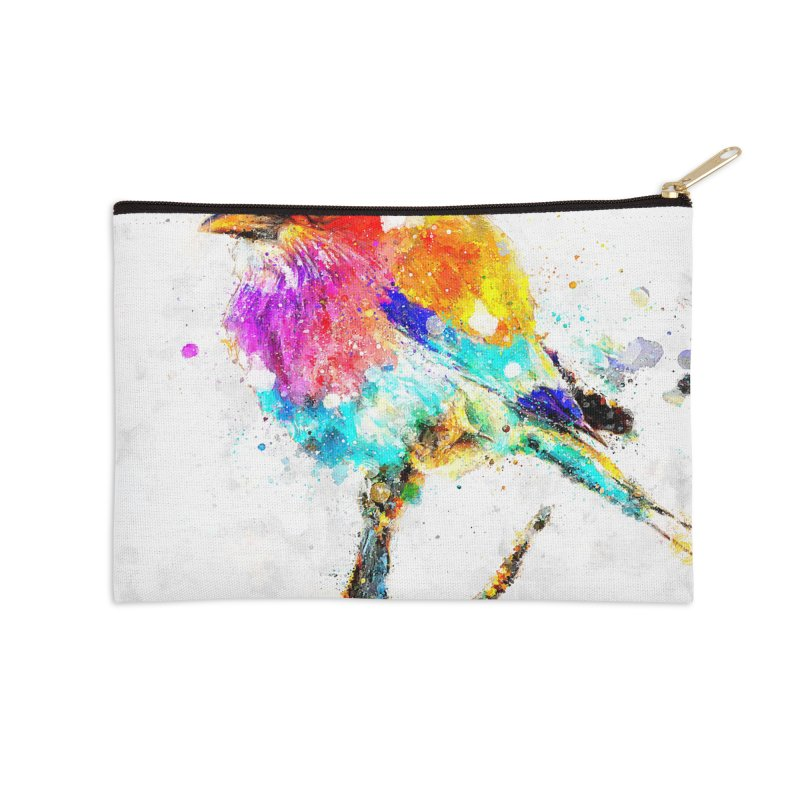 Artistic IV - Colorful Bird Accessories Zip Pouch by Abstract designs