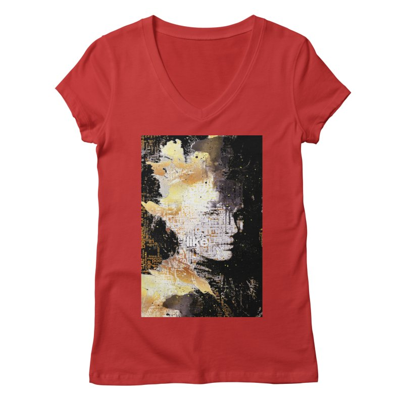 Typo face Women's V-Neck by Abstract designs