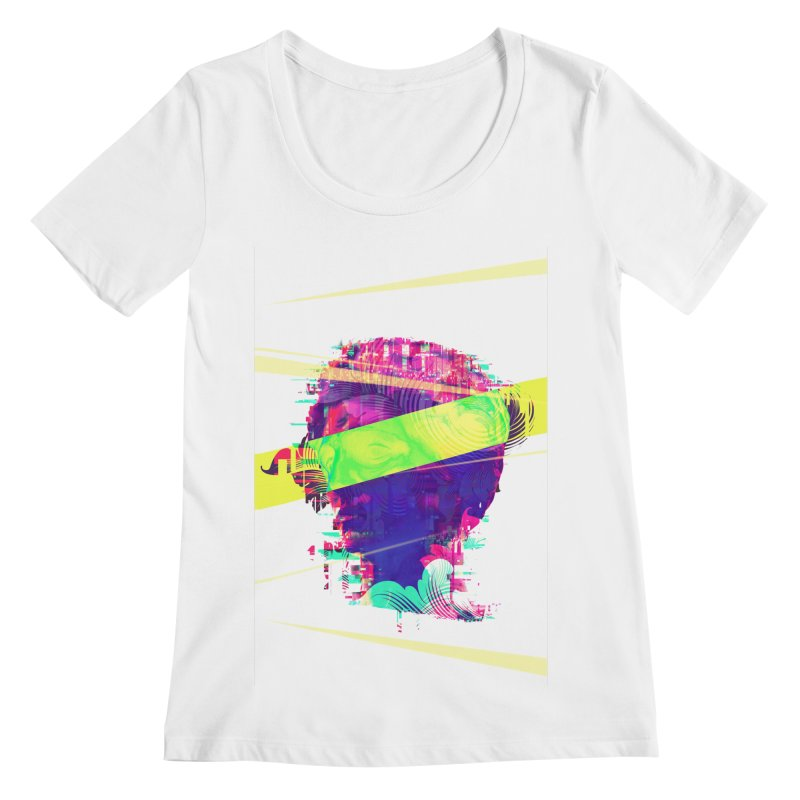 Artistic LXXI - Glitchy Dope Portrait Women's Scoopneck by Abstract designs