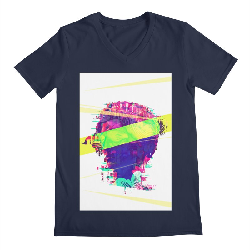 Artistic LXXI - Glitchy Dope Portrait Men's V-Neck by Abstract designs