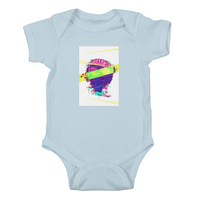 Artistic LXXI - Glitchy Dope Portrait Kids Baby Bodysuit by Abstract designs