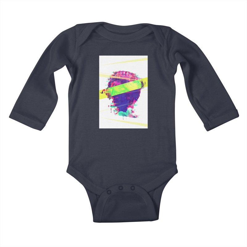 Artistic LXXI - Glitchy Dope Portrait Kids Baby Longsleeve Bodysuit by Abstract designs