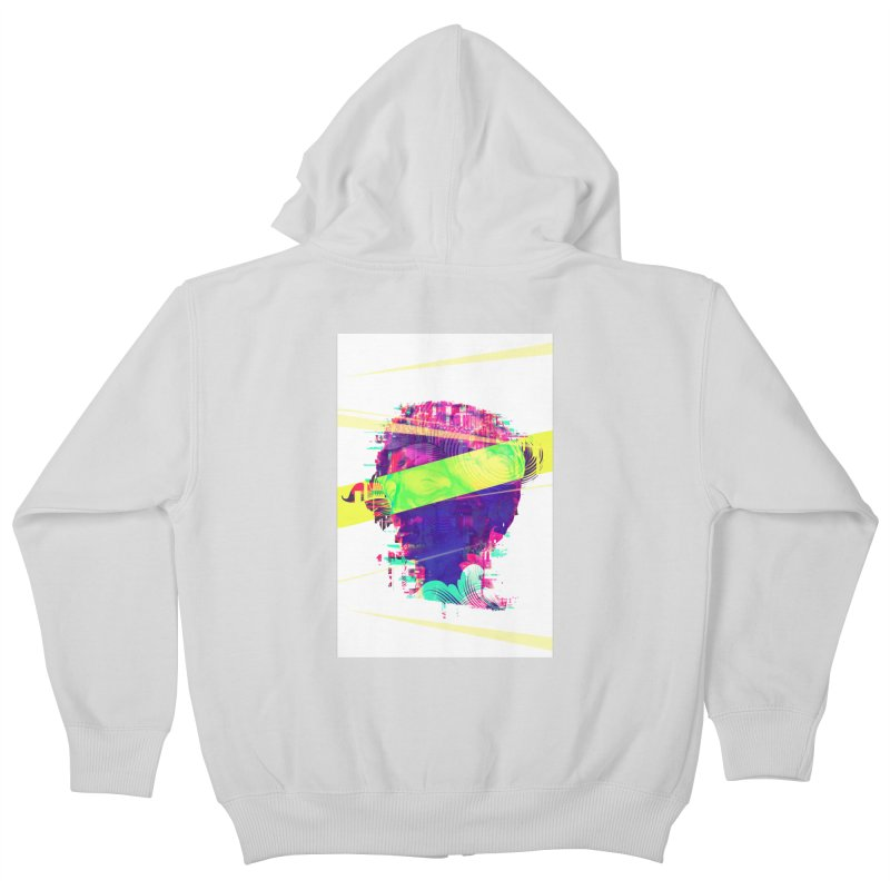 Artistic LXXI - Glitchy Dope Portrait Kids Zip-Up Hoody by Abstract designs