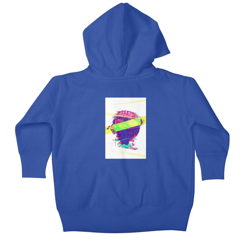 Artistic LXXI - Glitchy Dope Portrait Kids Baby Zip-Up Hoody by Abstract designs