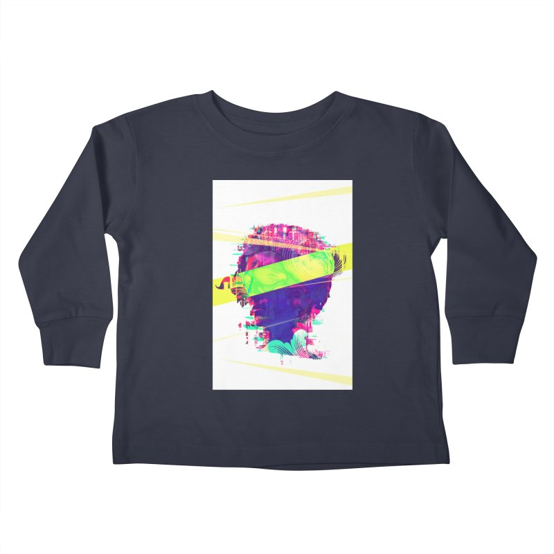 Artistic LXXI - Glitchy Dope Portrait Kids Toddler Longsleeve T-Shirt by Abstract designs