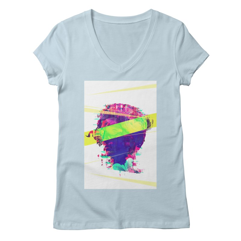 Artistic LXXI - Glitchy Dope Portrait Women's V-Neck by Abstract designs