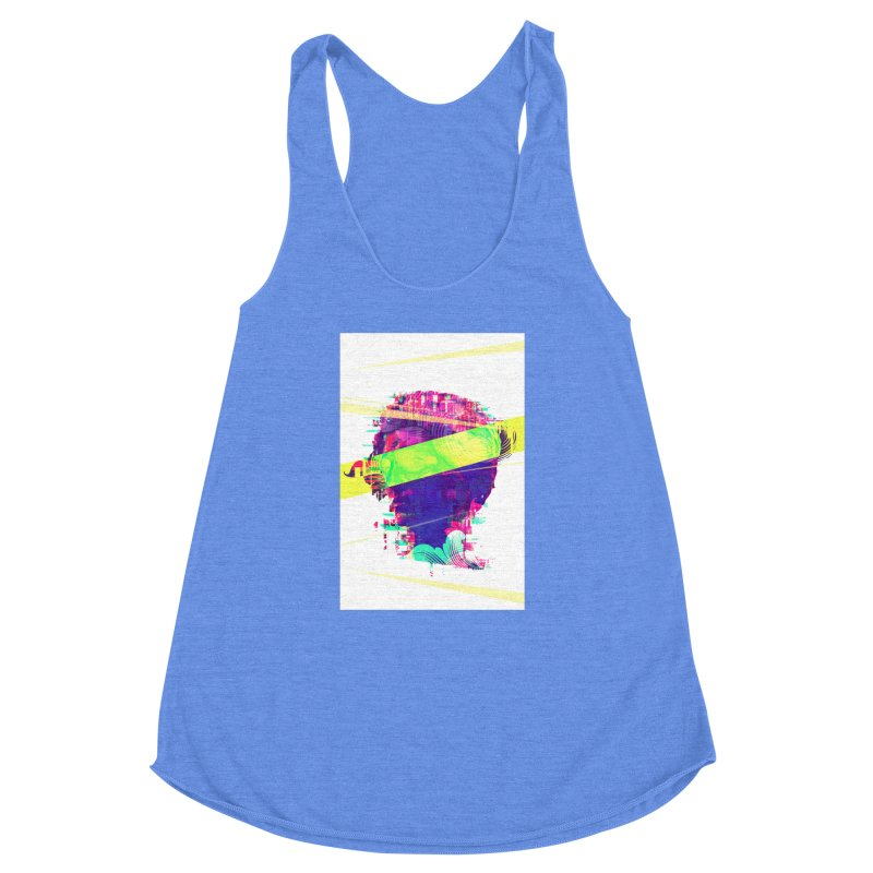 Artistic LXXI - Glitchy Dope Portrait Women's Racerback Triblend Tank by Abstract designs