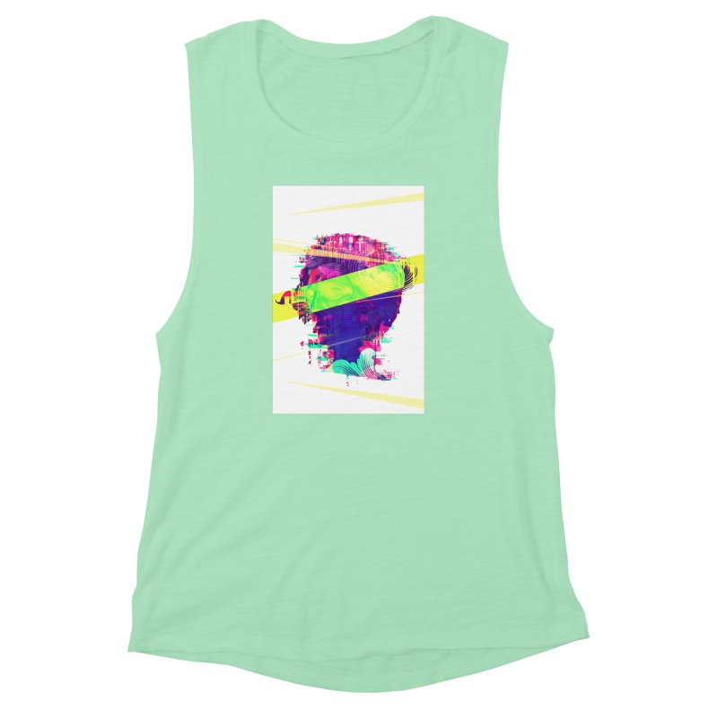 Artistic LXXI - Glitchy Dope Portrait Women's Muscle Tank by Abstract designs