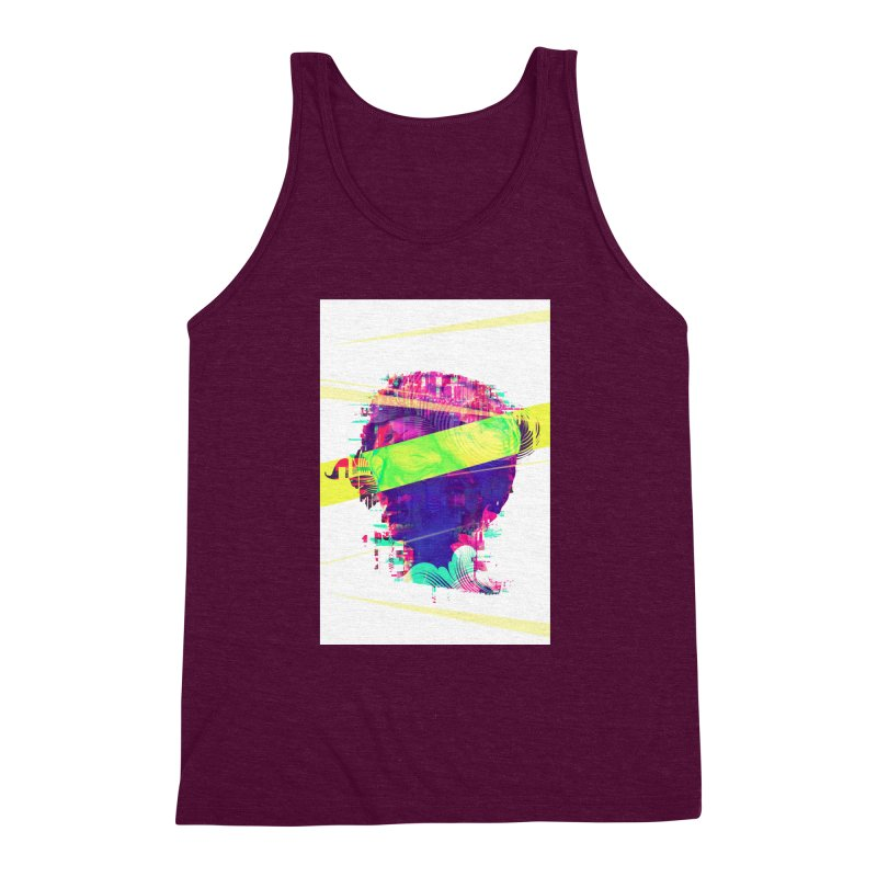 Artistic LXXI - Glitchy Dope Portrait Men's Triblend Tank by Abstract designs