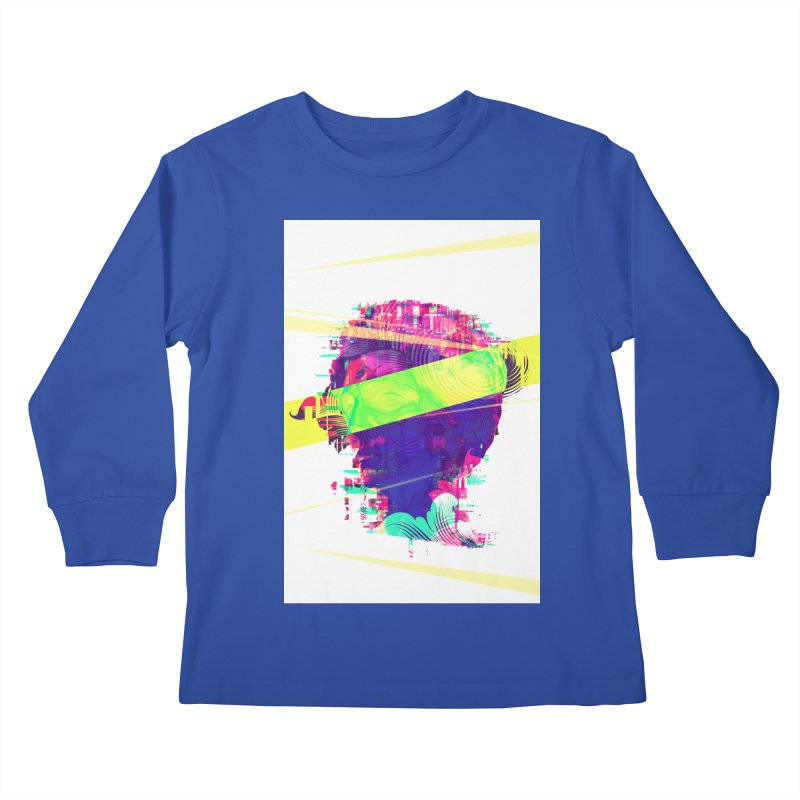 Artistic LXXI - Glitchy Dope Portrait Kids Longsleeve T-Shirt by Abstract designs