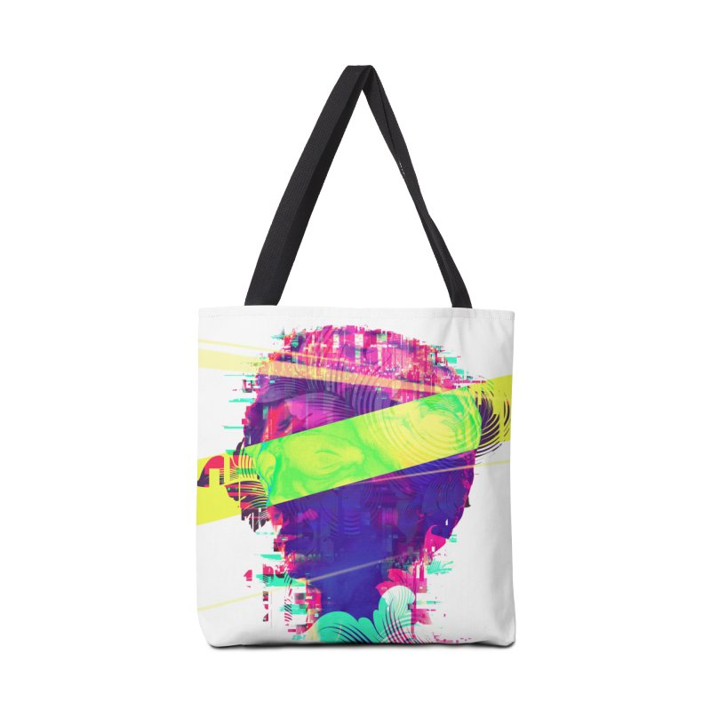 Artistic LXXI - Glitchy Dope Portrait Accessories Bag by Abstract designs
