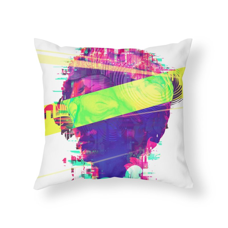 Artistic LXXI - Glitchy Dope Portrait Home Throw Pillow by Abstract designs
