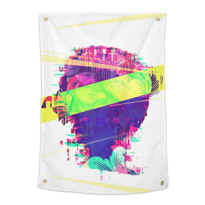 Artistic LXXI - Glitchy Dope Portrait Home Tapestry by Abstract designs