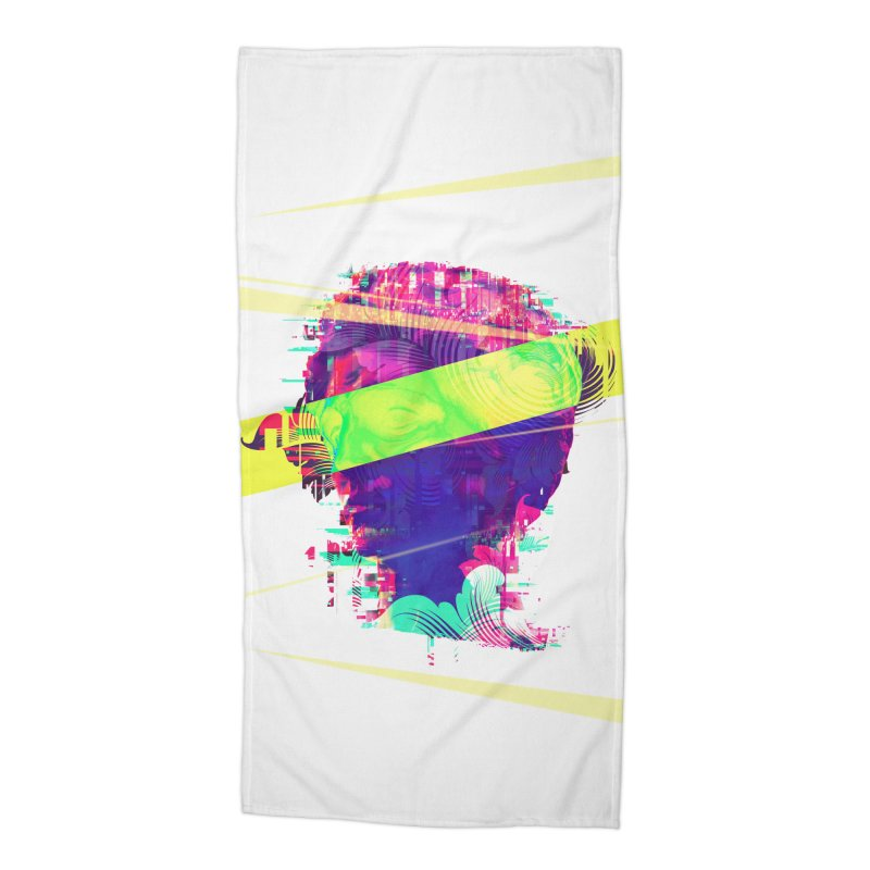 Artistic LXXI - Glitchy Dope Portrait Accessories Beach Towel by Abstract designs