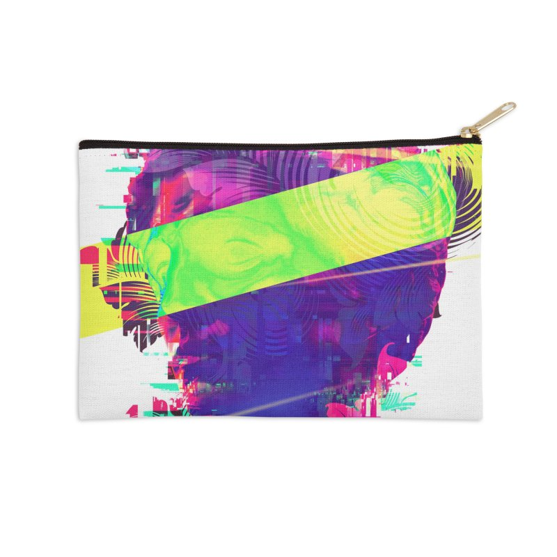 Artistic LXXI - Glitchy Dope Portrait Accessories Zip Pouch by Abstract designs