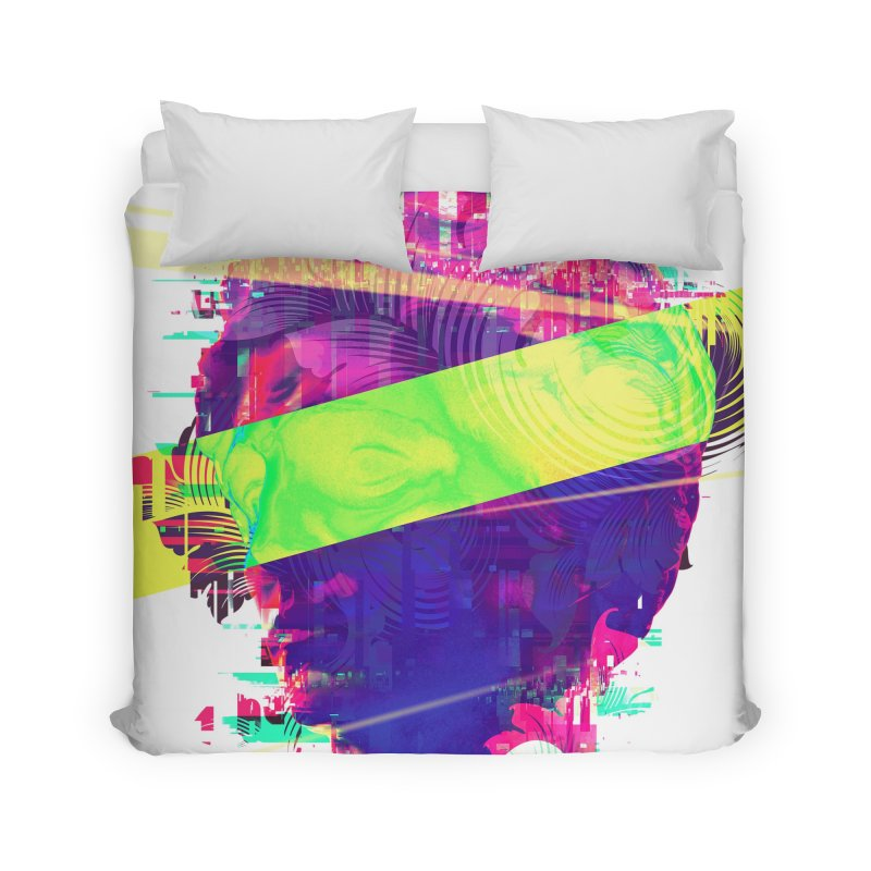 Artistic LXXI - Glitchy Dope Portrait Home Duvet by Abstract designs