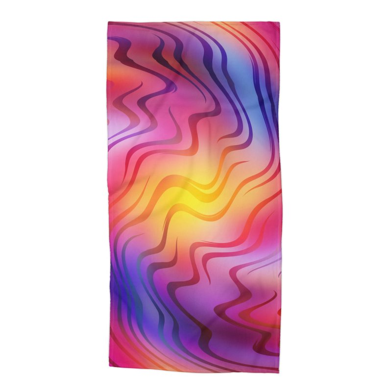 Colorful Waves Accessories Beach Towel by Abstract designs