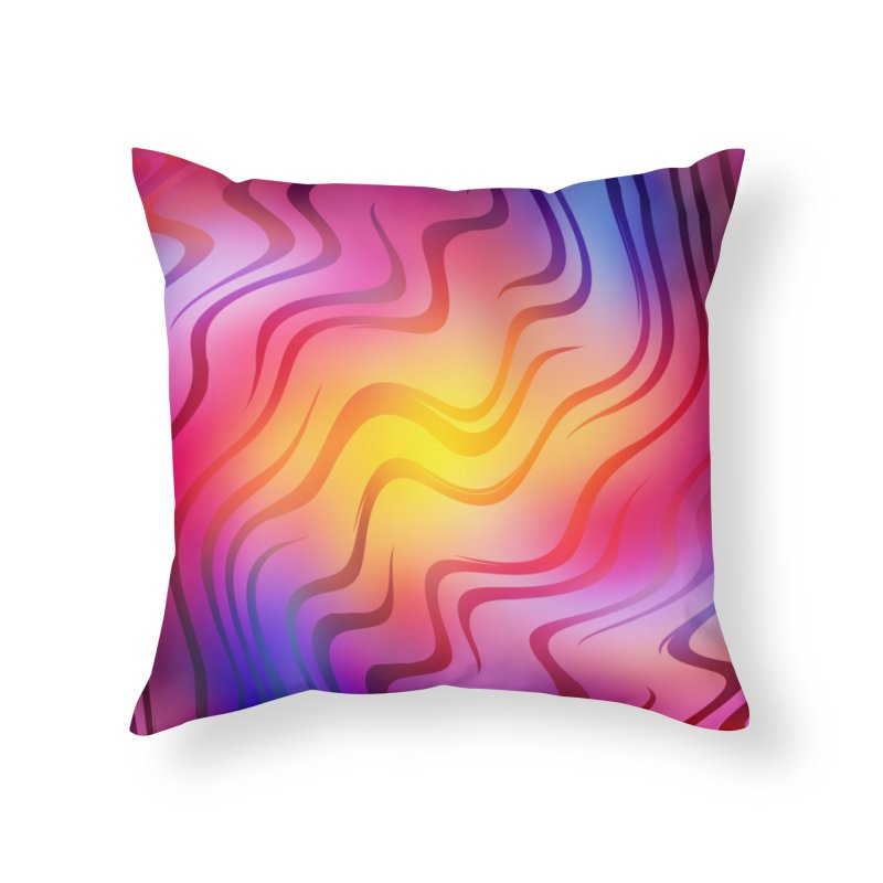 Colorful Waves Home Throw Pillow by Abstract designs