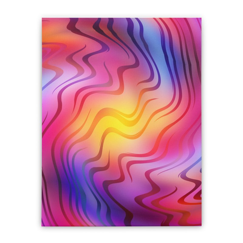 Colorful Waves Home Stretched Canvas by Abstract designs