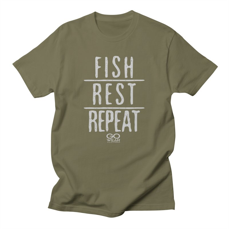 Rest and Repeat Fishing Darks Men's T-Shirt by tmographics custom designs