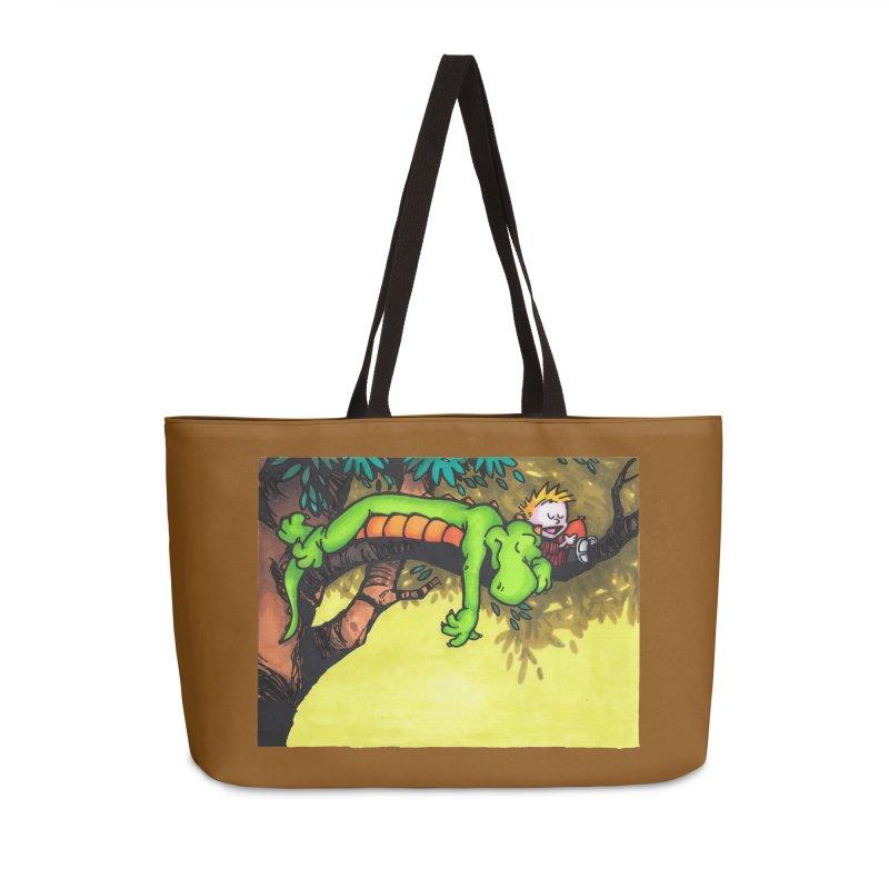 Calvin Sleeping in Weekender Bag by tmoney's Artist Shop