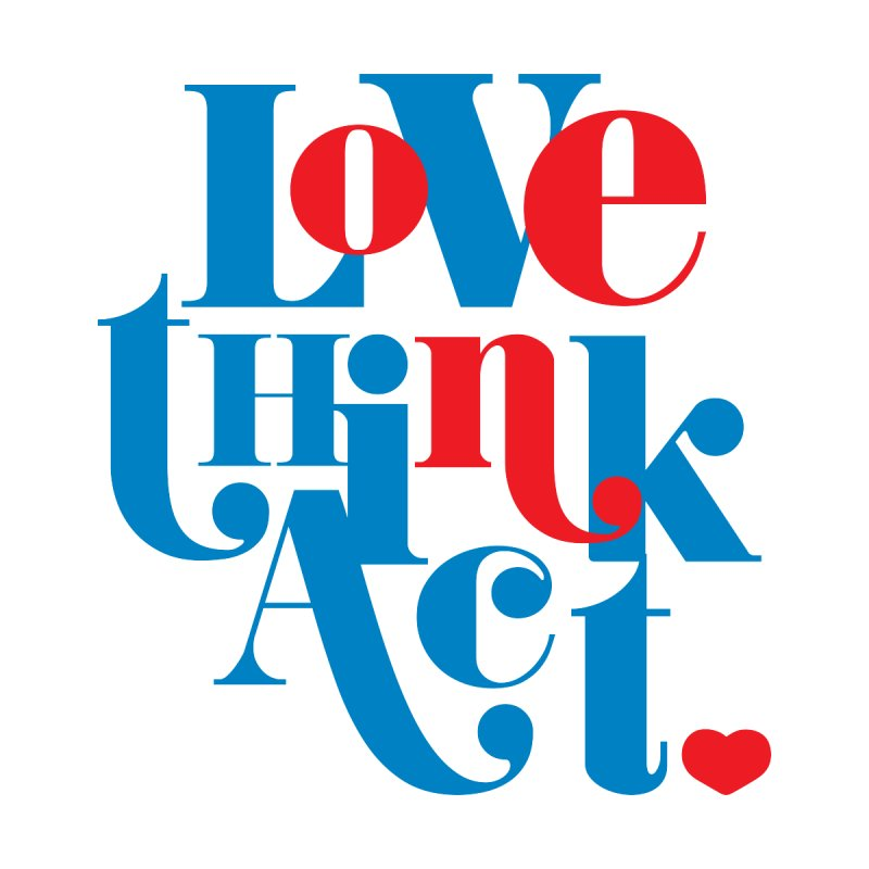 Love. Think. Act. as One. (Blue) Accessories Zip Pouch by tMonk Ink