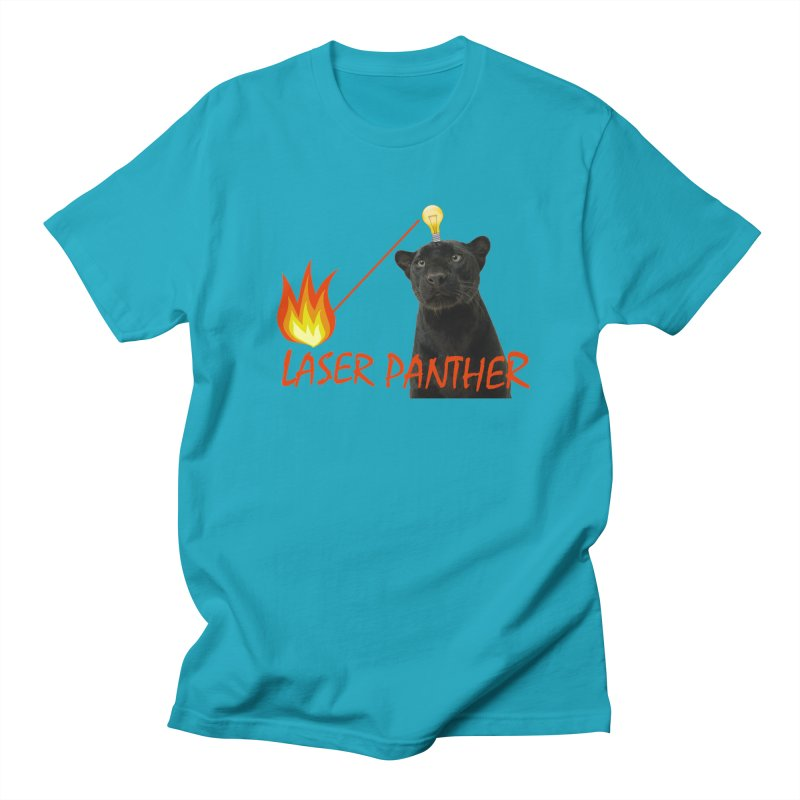 Laser Panther in Men's Regular T-Shirt Cyan by TODD SARVIES BAND APPAREL
