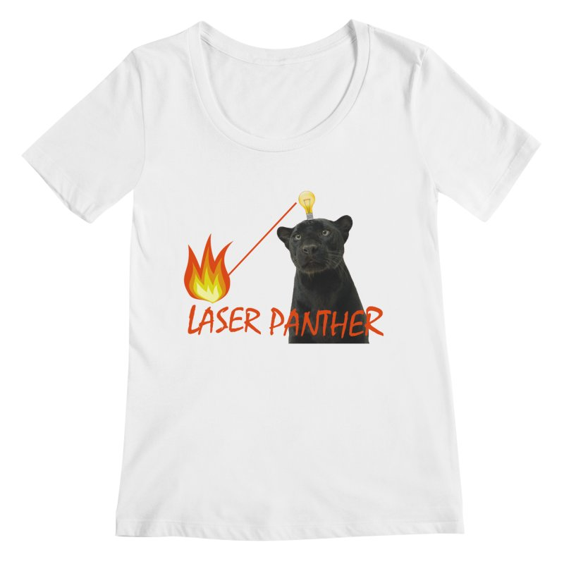 Laser Panther Women's Regular Scoop Neck by Todd Sarvies Band Apparel