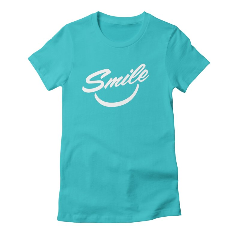Smile in Women's Fitted T-Shirt Pacific Blue by toast designs