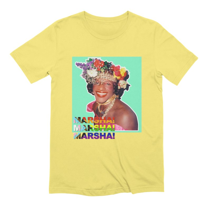 Marsha! in Men's Extra Soft T-Shirt Light Yellow by Toban Nichols Studio