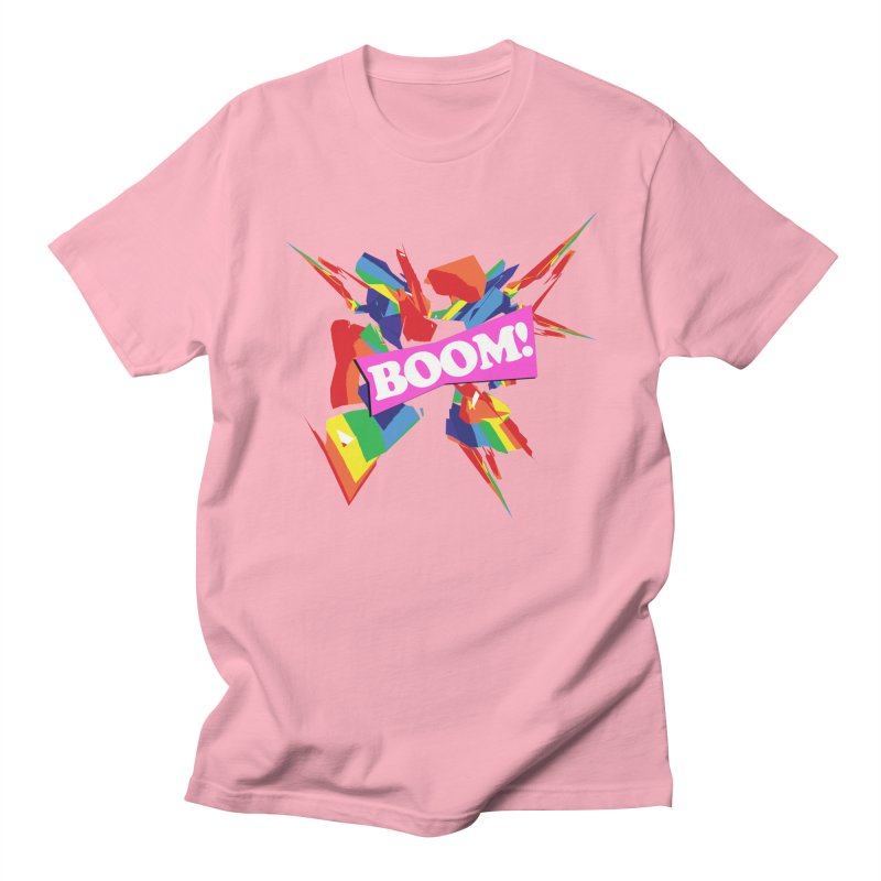 BOOM! (no blue) in Men's Regular T-Shirt Light Pink by Toban Nichols Studio