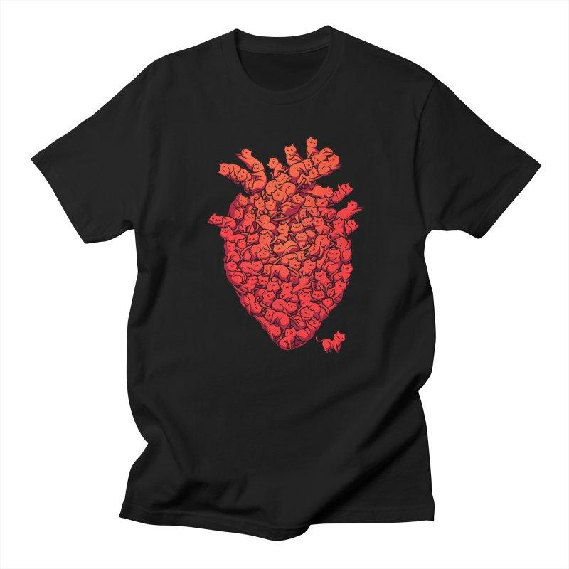 I Love Cat Heart in Men's Regular T-Shirt Black by Tobe Fonseca's Artist Shop