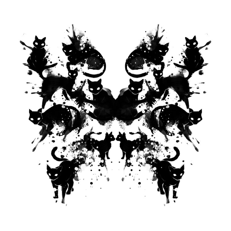 Rorschach Test Cat's On My Mind Women's Longsleeve T-Shirt by Tobe Fonseca's Artist Shop