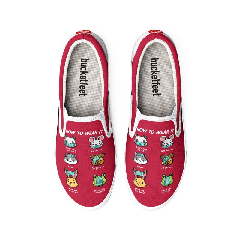 How not to wear a face mask animals cute funny Women's Shoes by Tobe Fonseca's Artist Shop