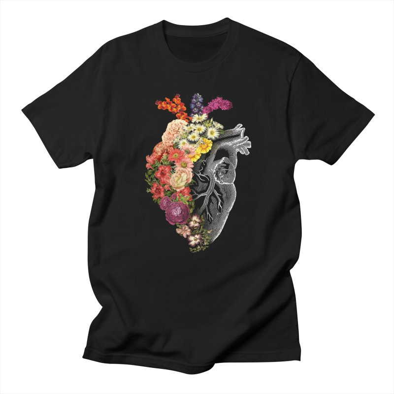 Flower Heart Spring in Men's Regular T-Shirt Black by Tobe Fonseca's Artist Shop