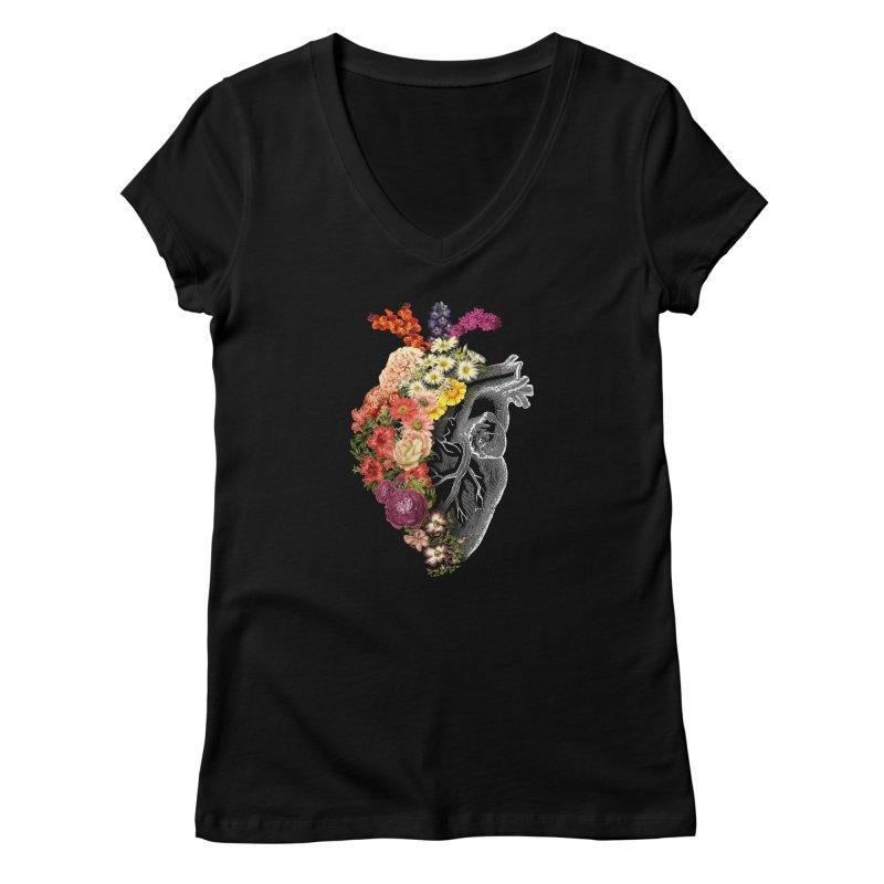 Flower Heart Spring Women's V-Neck by Tobe Fonseca's Artist Shop