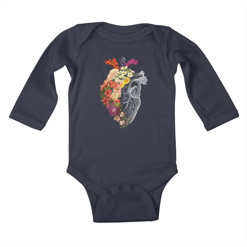 Flower Heart Spring Kids Baby Longsleeve Bodysuit by Tobe Fonseca's Artist Shop