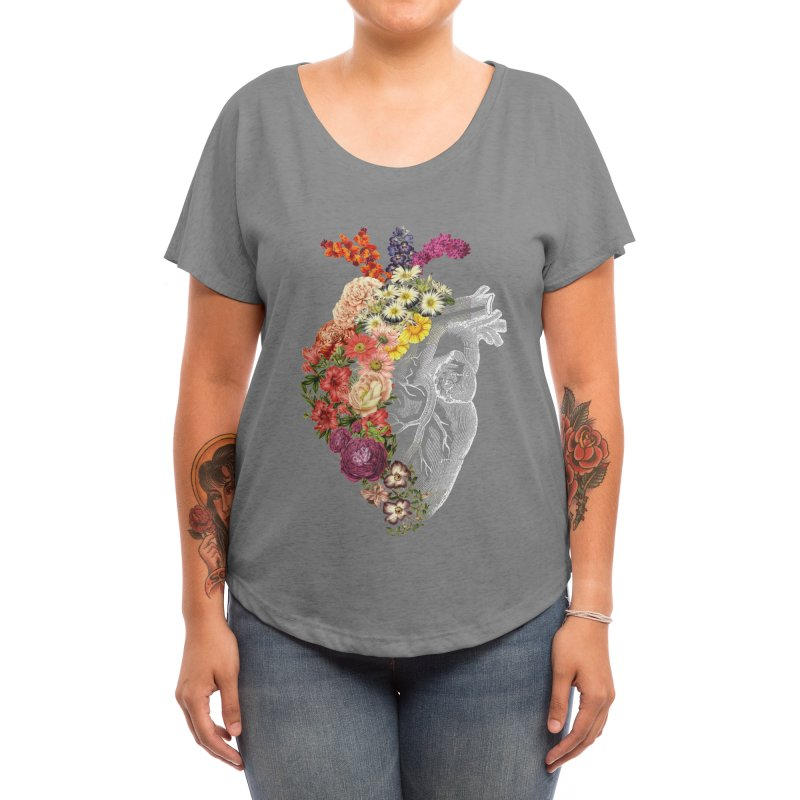 Flower Heart Spring Women's Scoop Neck by Tobe Fonseca's Artist Shop