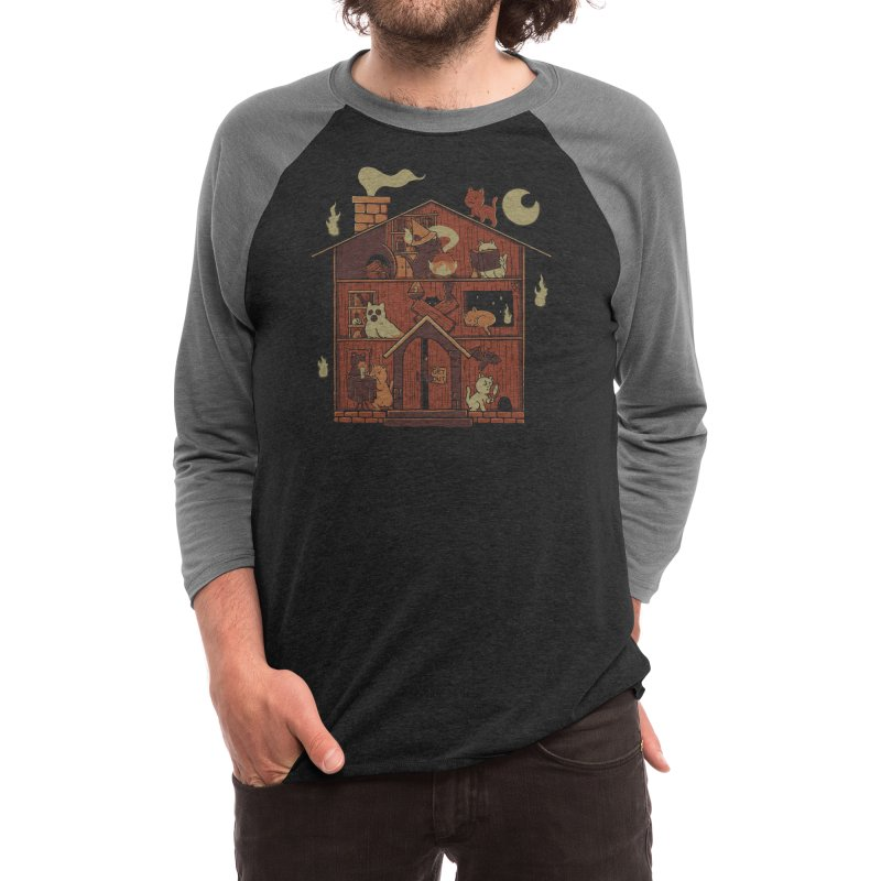 Haunted House Cat Ghost Blackmagic Men's Longsleeve T-Shirt by Tobe Fonseca's Artist Shop