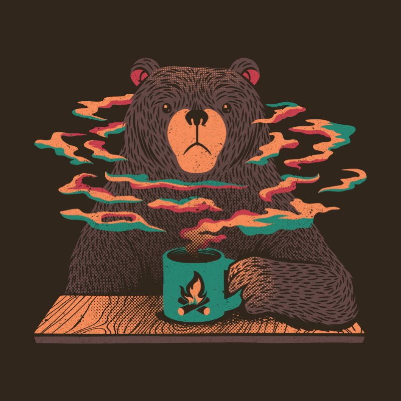 Bear Having Coffee I Love Coffee Green Men's Socks by Tobe Fonseca's Artist Shop