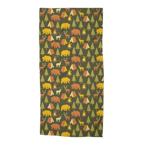 image for Pattern Camping Tree Tents Fire Bear Deer
