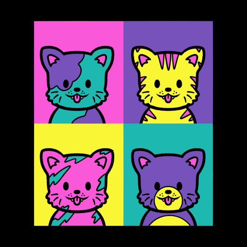 Cat Warhol Pop Art Men's T-Shirt by Tobe Fonseca's Artist Shop