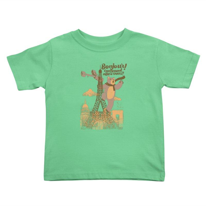 Paris King Kong Bear Eiffel Tower Kids Toddler T-Shirt by Tobe Fonseca's Artist Shop