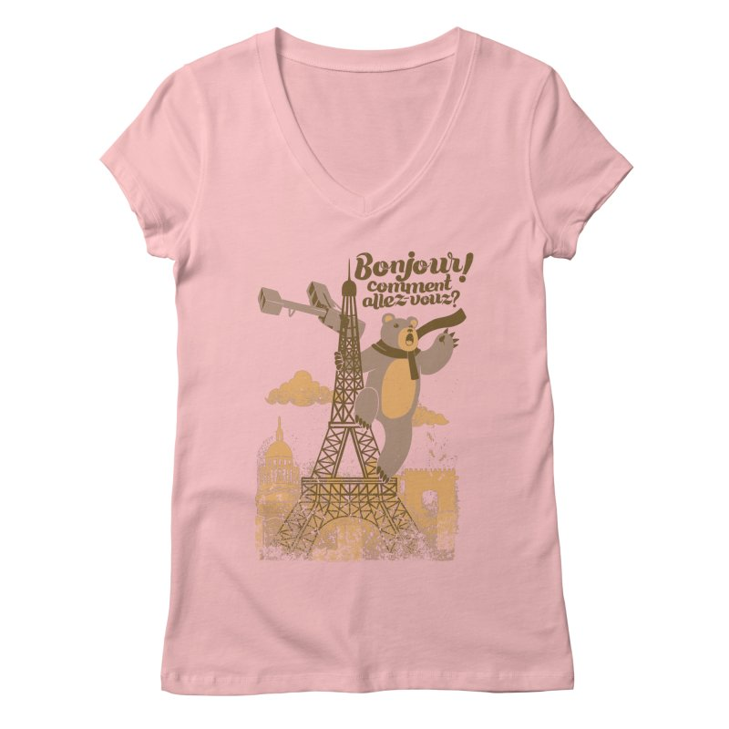 Paris King Kong Bear Eiffel Tower Women's V-Neck by Tobe Fonseca's Artist Shop