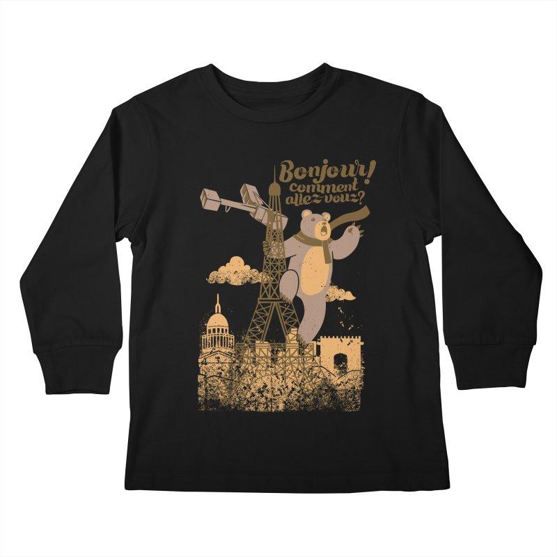 Paris King Kong Bear Eiffel Tower Kids Longsleeve T-Shirt by Tobe Fonseca's Artist Shop